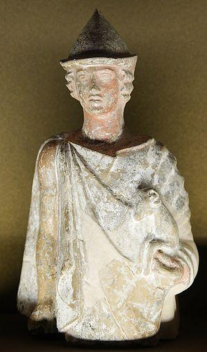 Greek terracotta figurines - Hermes criophorus (?), Boeotian terracotta figurine, ca. 450 BC, Louvre