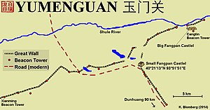 Yumen Pass - Map over Yumen Pass