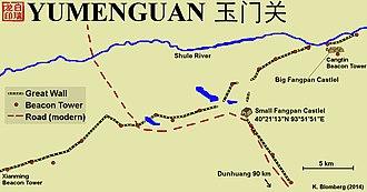 Yumen Pass - Map over Yumen Pass