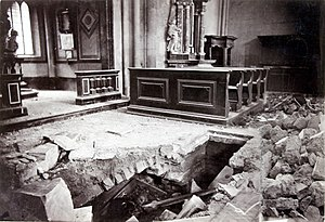 1880 Zagreb earthquake - The damage to Zagreb Cathedral's interior was photographed by Ivan Standl. A skeleton is visible in a crypt
