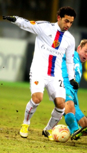 Mohamed Salah - Salah playing for Basel away at Zenit St Petersburg in the UEFA Europa League in March 2013