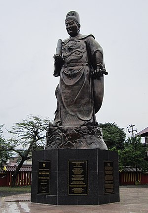 China–Indonesia relations - The Zheng He memorial statue in Sam Poo Kong temple, Semarang, commemorate the Ming naval voyage to Indonesian archipelago.