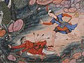 """'Umar Walks around Fulad Castle, Meets a Foot Soldier and Kicks Him to the Ground"", Folio from a Hamzanama (The Adventures of Hamza) MET sf23-264-2d.jpg"