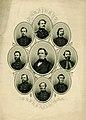 """President and Generals C.S.A."" (Jefferson Davis surrounded by Generals Robert E. Lee, A.P. Hill, J.E.B. Stuart, Braxton Bragg, Joseph E. Johnston, John Morgan, Thomas J. Jackson, and Beauregard).jpg"