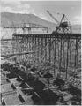 """Upstream placing trestle on the west side showing cranes handling concrete blocks below."" - NARA - 294306.tif"