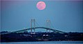 'Pink' Supermoon Over the Pell Bridge Newport (RI) April 2020 (49755101017).jpg