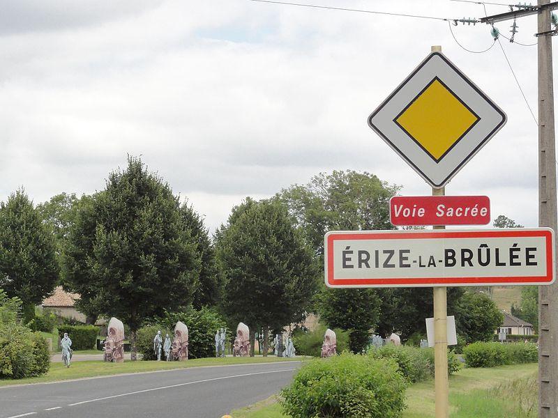Érize-la-Brûlée (Meuse) city limit sign
