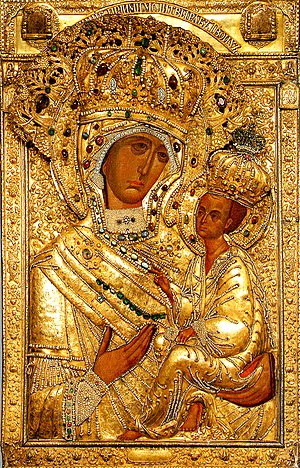Theotokos of Tikhvin - The Theotokos of Tikhvin in the golden riza.