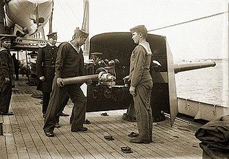 Canon de 100 mm Modèle 1891 - Image: Экипаж болгарского крейсера Надежда(2)