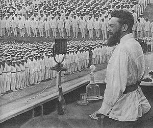 Yan Gamarnik - Gamarnik speaking to sailors on parade, 1933