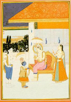 Balipratipada - Vamana (blue faced dwarf) in the court of king Bali (Mahabali, right seated) seeking alms