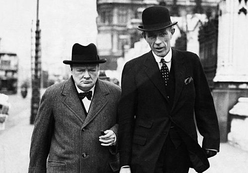 Halifax and Winston Churchill in 1938. Note Halifax's artificial left hand, concealed under a black glove. 0929 fc-churchill-halifax.jpg