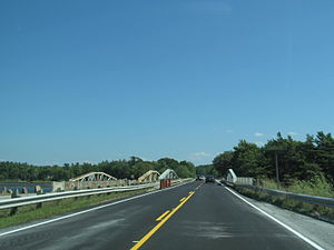 Thousand Islands Parkway - Thousand Island Parkway heading eastbound over Landon Bay