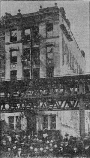 Allen Street - 105 Allen Street after the 1905 fire, with the Second Avenue El in the foreground