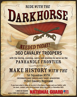 "153rd Cavalry Regiment - 2008 recruitment poster for the ""Darkhorse"" Squadron."