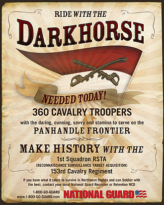 "153rd Cavalry Regiment - 2008 recruitment poster for the ""Darkhorse"" Squadron."