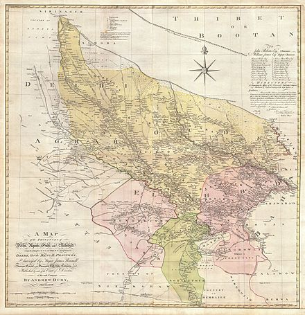 Almora in the 1777 map of Delhi and Agra 1777 Rennell - Dury Wall Map of Delhi and Agra, India - Geographicus - DelhiAgrah-dury-1777.jpg