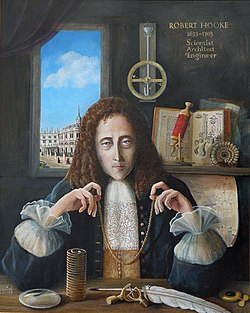Painting of Robert Hooke seated in a study, holding a small chain suspended between his hands by the ends