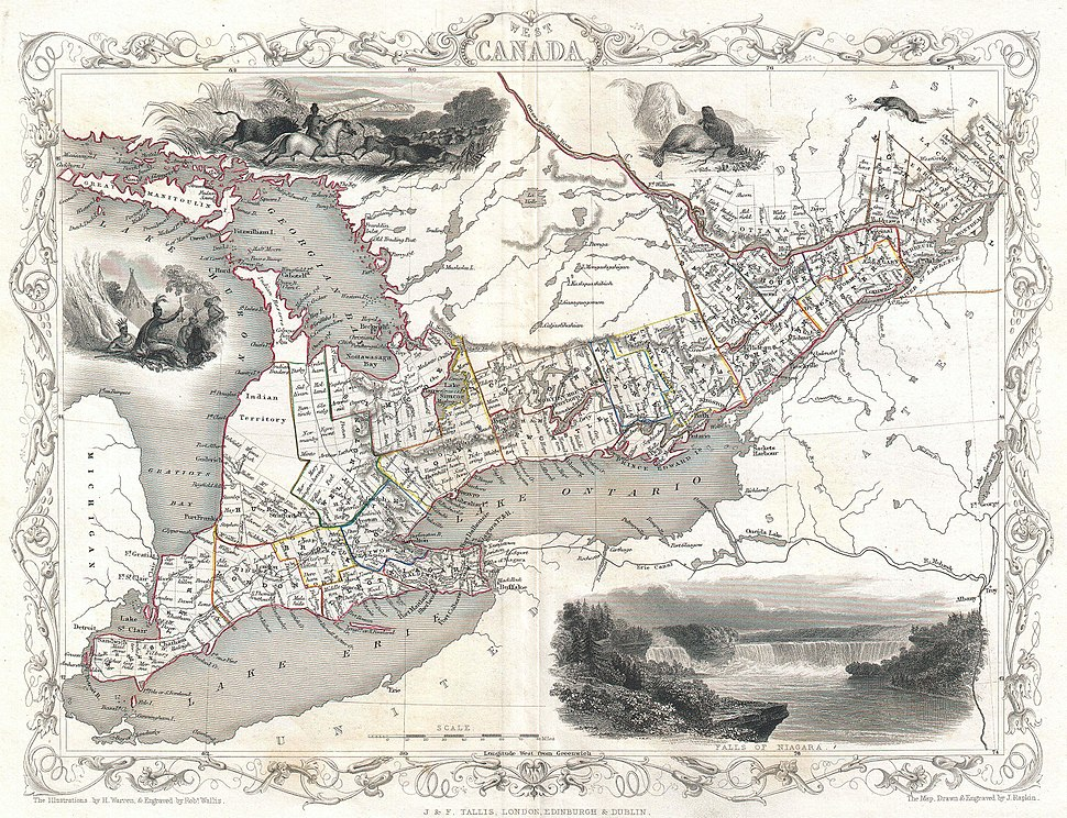 1850 Tallis Map of West Canada or Ontario ( includes Great Lakes ) - Geographicus - WestCanada-tallis-1850