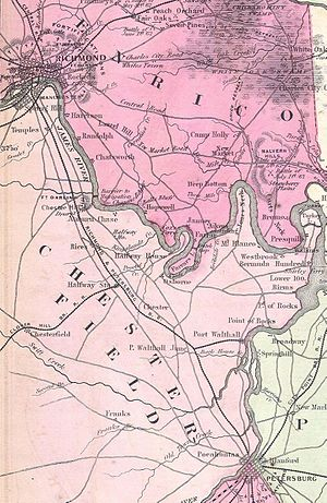 Richmond and Petersburg Railroad - 1862 Map Showing the Richmond and Petersburg Railroad with the connection to the Clover Hill and other Railroads.