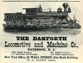 Cooke Locomotive and Machine Works - 1877 advertisement of Danforth Locomotive and Machine Company