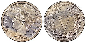 Liberty Head nickel - A pattern for the nickel by Barber