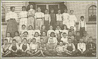 Norwalk, California - Norwalk Grammar School class in 1890. Cora Hargitt Middle School Academy (operated 1980-2008) was named after the teacher, at top left.