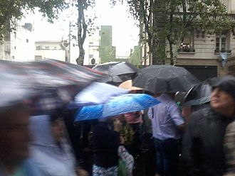18F (demonstration) - People with umbrellas during a demonstration in support of Alberto Nisman