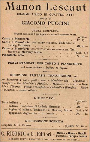 Manon Lescaut (Puccini) - Advertisement for libretto, 1917