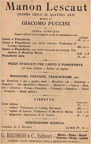 Manon Lescaut (Puccini) - Advertisement for libretto, 1917