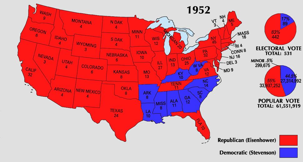 1952 Electoral Map