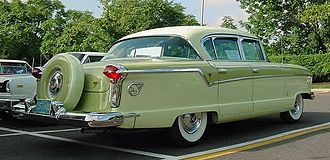 Continental tire - 1956 Nash four-door sedan with factory color matched Continental tire.