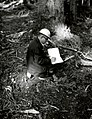 1959. Ken Wright recording field data. Gifford Pinchot National Forest, Washington. (34999455842).jpg