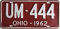 1962 Ohio license plate.JPG