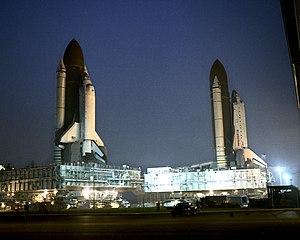 STS-38 - Atlantis and Columbia pass.