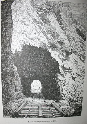 "Charles Wiener - The drawing by Charles Wiener, ""tunnel on the La Oroya line"" in his book Pérou et Bolivie - Récit de voyage was used by Hergé in his album of Tintin ""Le temple du Soleil"""