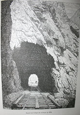"""Charles Wiener - The drawing by Charles Wiener, """"tunnel on the La Oroya line"""" in his book Pérou et Bolivie - Récit de voyage was used by Hergé in his album of Tintin """"Le temple du Soleil"""""""