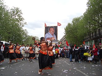 Tamils in France - Tamil dancers take part in the May day rally in Paris, 2010