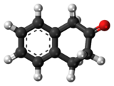 Ball-and-stick model of the 2-tetralone molecule