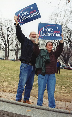 Bush v. Gore - Supporters for the Gore-Lieberman ticket outside the U.S. Supreme Court on December 11