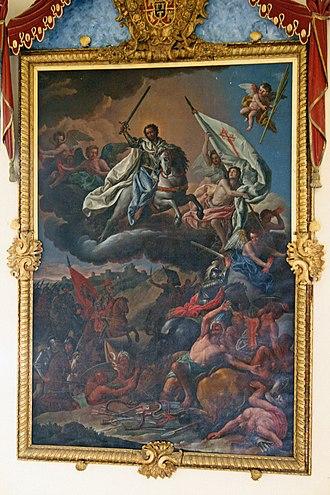 Battle of Clavijo - Image: 20070415 Monasterio de Uclés La Aparición del Apóstol Santiago en la Batalla de Clavijo, obra de Antonio González Ruiz, presidiendo la Escalera principal