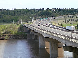 Whitemud Drive - Quesnell Bridge carrying Whitemud Drive over the North Saskatchewan River, prior to its widening completed in 2011