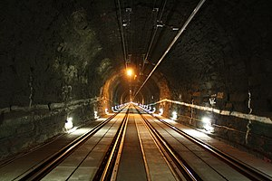 Arlberg Railway Tunnel - In the central part of the tunnel