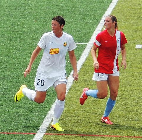 July 4, 2013; Chicago Red Stars vs Western New York Flash; Abby Wambach-20 marked by Taryn Hemmings-14 2013-07-04 Redstars v Flash TarynHemmings AbbyWambach.jpg