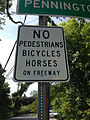"2014-08-29 15 17 47 ""No Pedestrians Bicycles Horses On Freeway"" sign at the ramp from River Road (New Jersey Route 175) northbound to Interstate 95 northbound in Ewing, New Jersey.JPG"