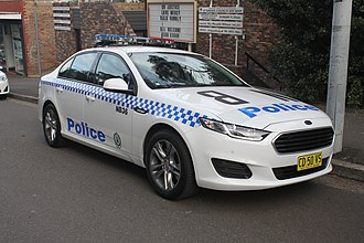 A New South Wales Police Force patrol car. 2015 Ford Falcon (FG X) sedan, NSW Police Force (18179928673).jpg