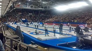 2016 Tim Hortons Brier - Draw 2 action; Northern Ontario versus Saskatchewan in the foreground