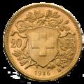 20 Schweizer Franken Goldvrenzeli Wertseite.png