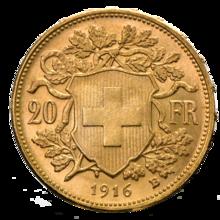 20 Schweizer Franken Goldvrenzeli Wertseite Png