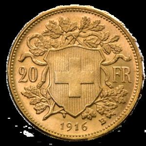 Vreneli - Image: 20 Schweizer Franken Goldvrenzeli Wertseite